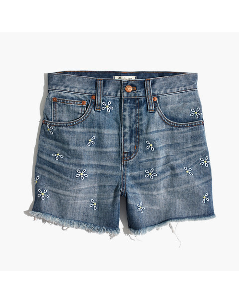 The Perfect Jean Short: Daisy Embroidered Edition in aberdeen wash image 4