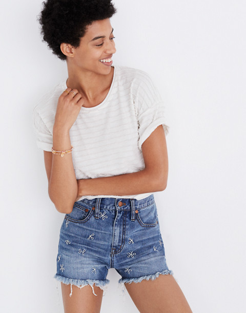 The Perfect Jean Short: Daisy Embroidered Edition in aberdeen wash image 1