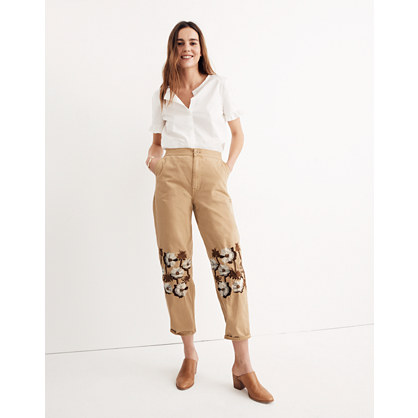 Embroidered Tapered Wide-Leg Pants