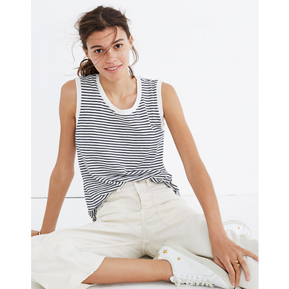 Whisper Cotton Crewneck Muscle Tank in Sandberg Stripe