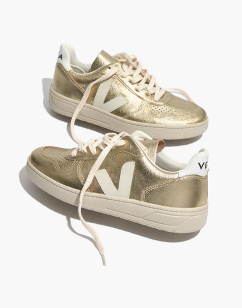Veja™ V-10 Sneakers in Colorblock in gold image 1