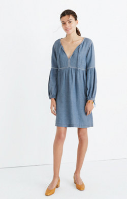 Indigo Peasant Dress