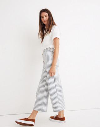 Tall Emmett Wide-Leg Crop Pants in Stripe: Button-Front Edition in moe stripe image 2