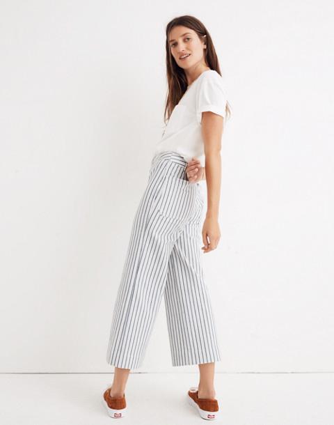 Emmett Wide-Leg Crop Pants in Stripe: Button-Front Edition in moe stripe image 3