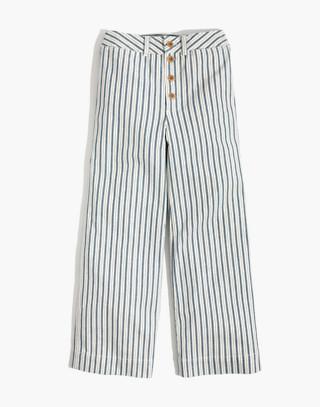 Tall Emmett Wide-Leg Crop Pants in Stripe: Button-Front Edition in moe stripe image 4