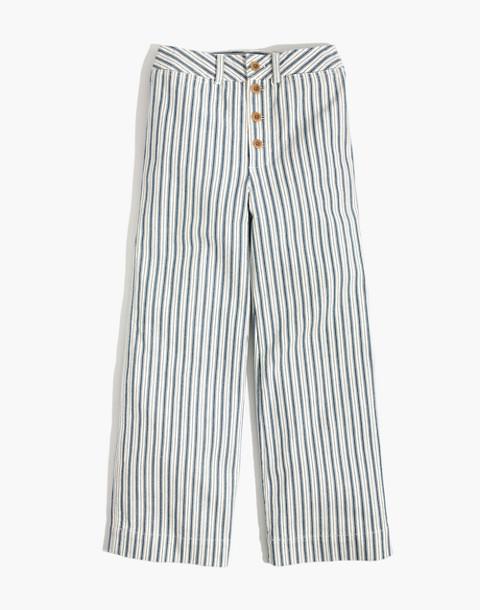 Emmett Wide-Leg Crop Pants in Stripe: Button-Front Edition in moe stripe image 4
