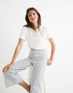 Tall Emmett Wide-Leg Crop Pants in Stripe: Button-Front Edition
