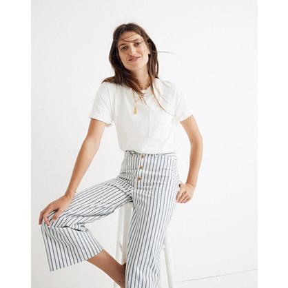 Tall Emmett Wide-Leg Crop Pants in Stripe: Button-Front Edition