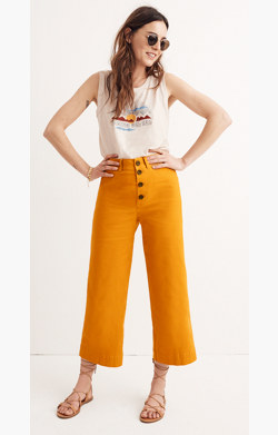 Emmett Wide-Leg Crop Pants: Button-Front Edition