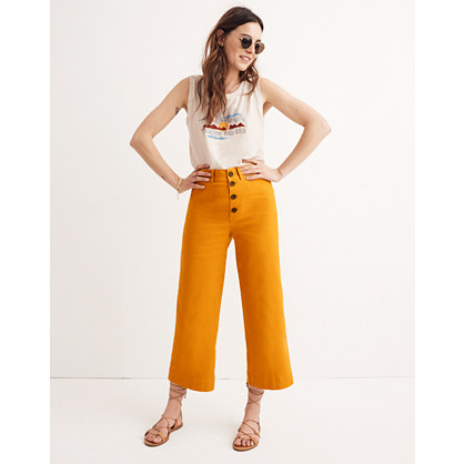 Tall Emmett Wide-Leg Crop Pants: Button-Front Edition