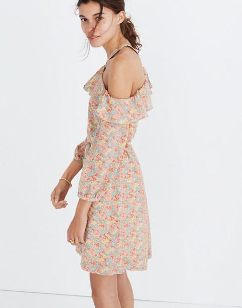 Silk Forsythia Cold-Shoulder Dress in Prairie Blossoms