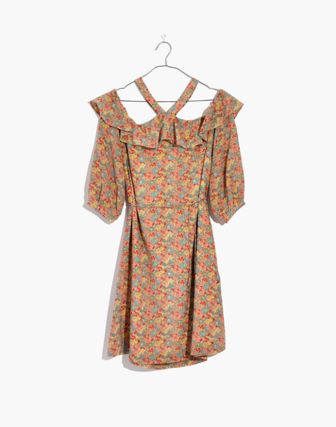 Silk Forsythia Cold-Shoulder Dress in Prairie Blossoms in woodland light nectar image 4