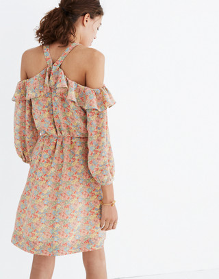 Silk Forsythia Cold-Shoulder Dress in Prairie Blossoms