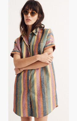 Courier Shirtdress in Rainbow Stripe