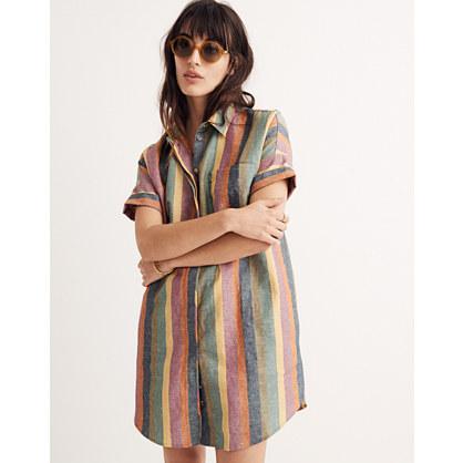 Courier Shirtdress in Rainbow Stripe