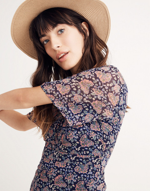 Orchard Flutter-Sleeve Dress in Fan Floral Mix in block dark midnight image 2