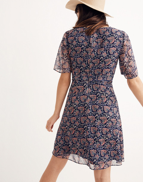 Orchard Flutter-Sleeve Dress in Fan Floral Mix in block dark midnight image 3