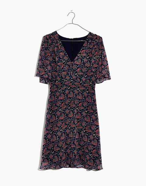 Orchard Flutter-Sleeve Dress in Fan Floral Mix in block dark midnight image 4