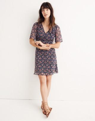 Orchard Flutter-Sleeve Dress in Fan Floral Mix
