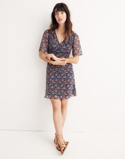 Orchard Flutter-Sleeve Dress in Fan Floral Mix in block dark midnight image 1