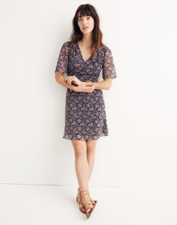 Orchard Flutter-Sleeve Dress in Fan Floral Mix