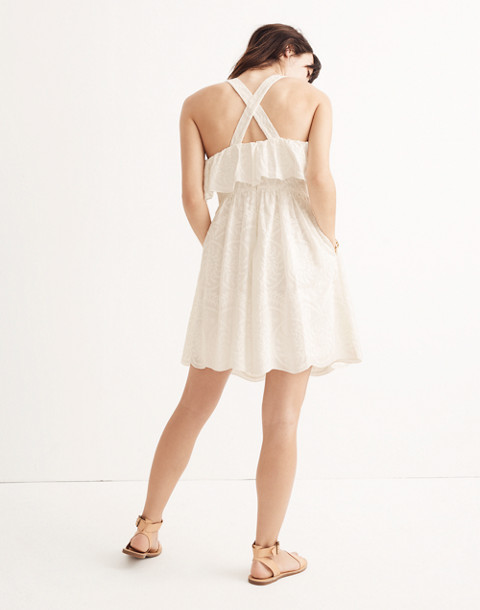 Embroidered Apron Ruffle Dress in white wash image 3