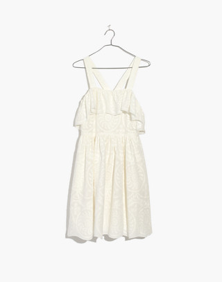 Embroidered Apron Ruffle Dress in white wash image 4