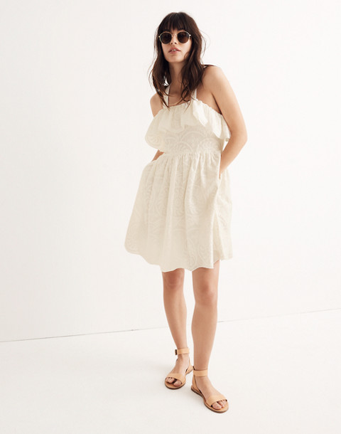 Embroidered Apron Ruffle Dress in white wash image 1