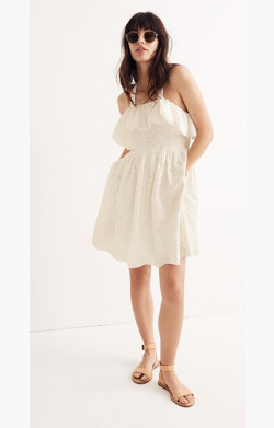 Embroidered Apron Ruffle Dress