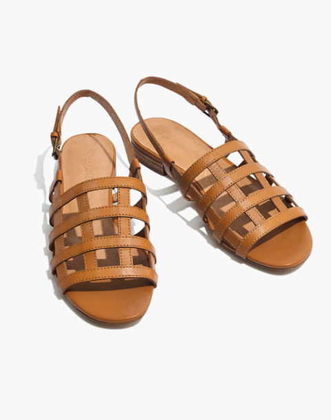 The Rowan Cage Sandal in amber brown image 1