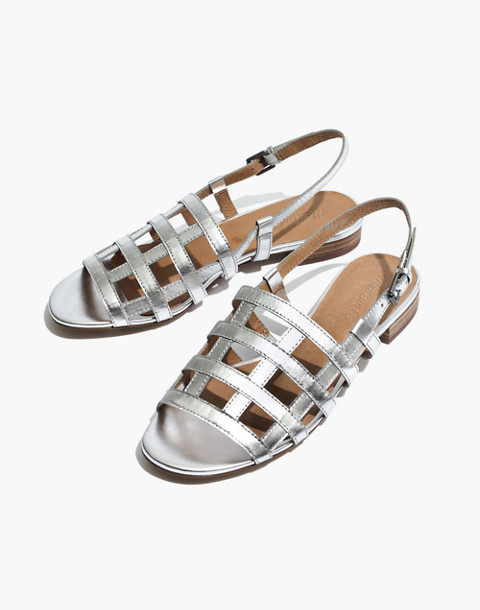 The Rowan Cage Sandal in Metallic in silver metallic image 1