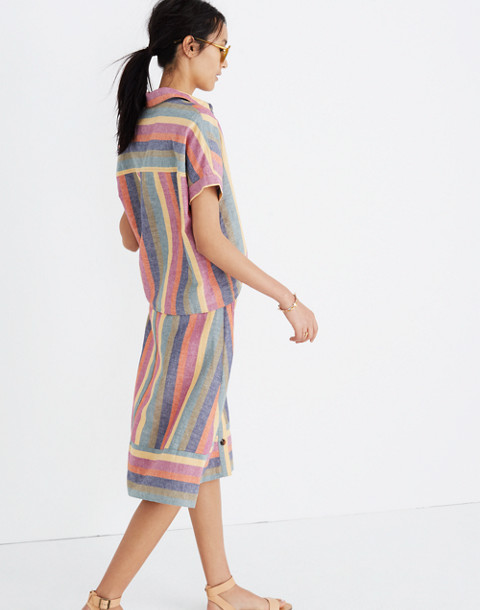 Short-Sleeve Tie-Front Shirt in Rainbow Stripe