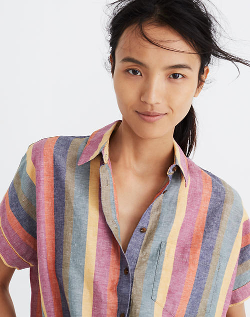 fb8cf39731d9 Short-Sleeve Tie-Front Shirt in Rainbow Stripe in null image 1