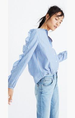 Striped Frill-Sleeve Shirt