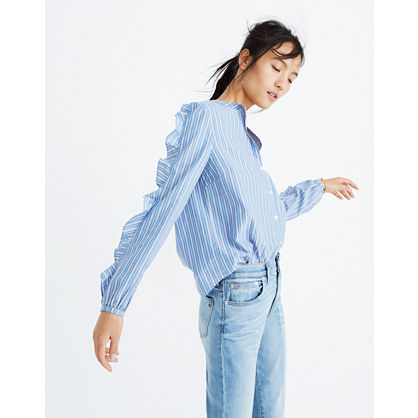 Striped Frill-Sleeve Shirt