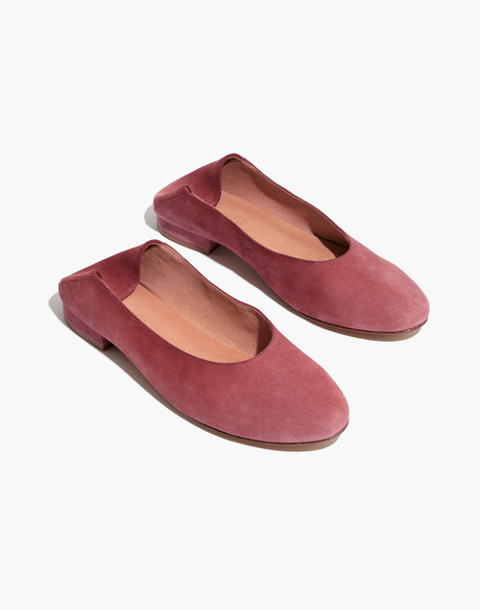 The Sophia Fold-Down Flat in Suede in antique rose image 1
