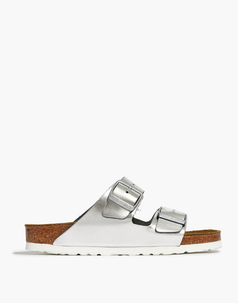 Birkenstock® Arizona Sandals in Leather in silver image 3