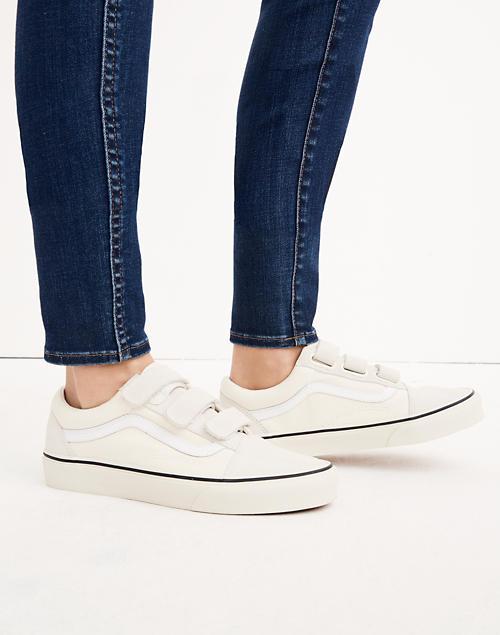 Vans® Unisex Old Skool Velcro Sneakers in Marshmallow Canvas