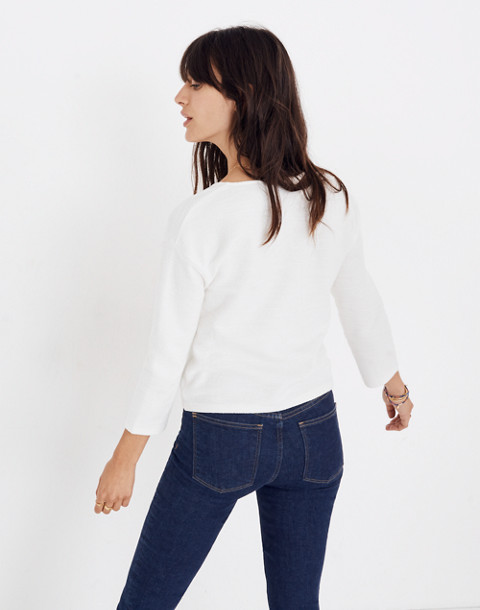 Textured Tie-Front Top in bright ivory image 3