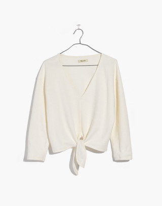 Textured Tie-Front Top in bright ivory image 4