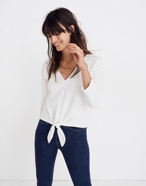 Textured Tie-Front Top in bright ivory image 1