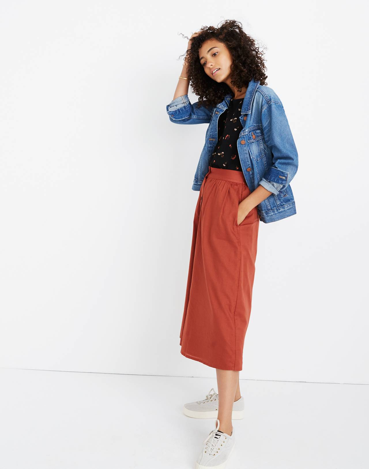 Palisade Button-Front Midi Skirt in rusty torch image 2