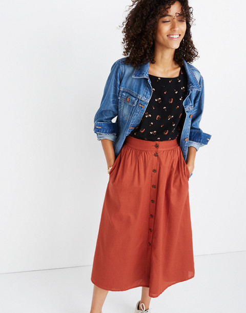 Palisade Button-Front Midi Skirt in rusty torch image 1