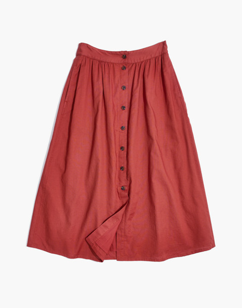 Palisade Button-Front Midi Skirt in warm berry image 4
