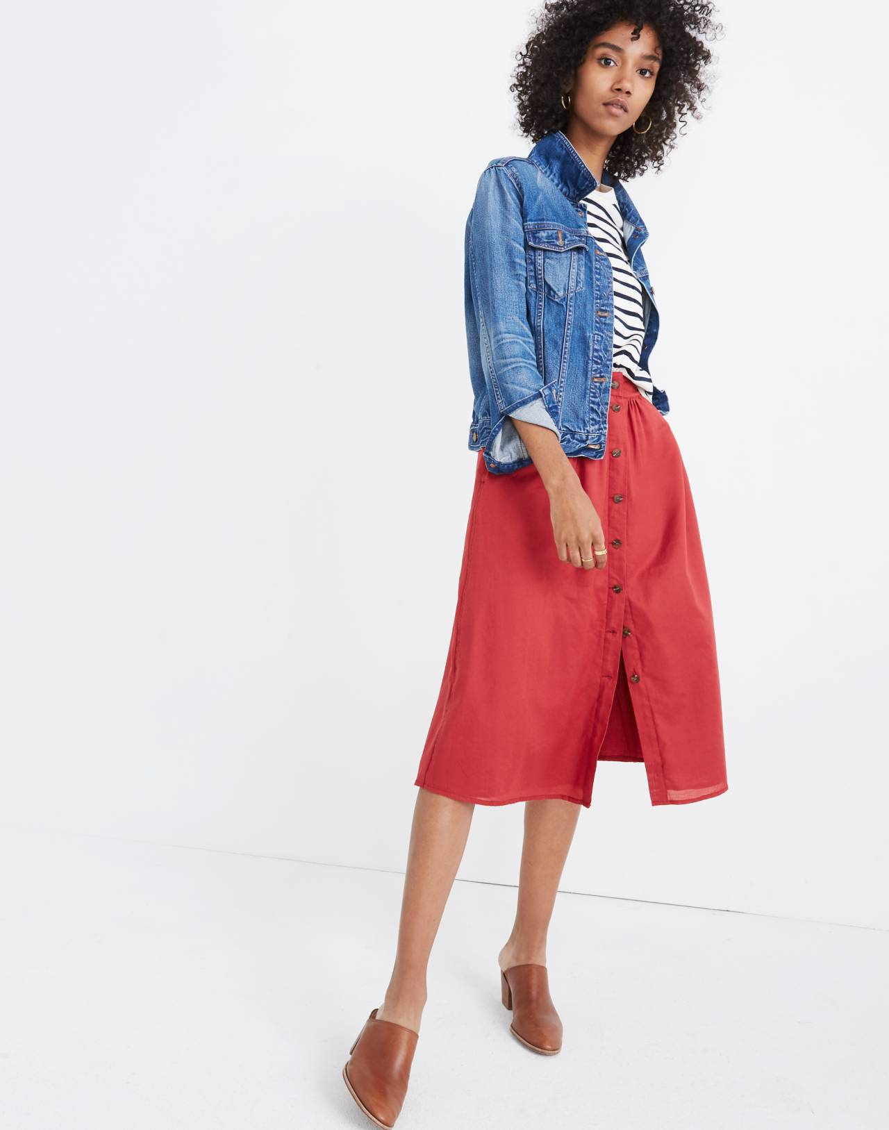 Palisade Button-Front Midi Skirt in warm berry image 1