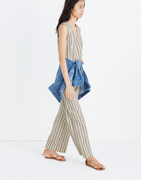 Striped Button-Down Jumpsuit in cloud lining image 2