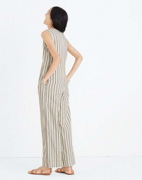 Striped Button-Down Jumpsuit in cloud lining image 3