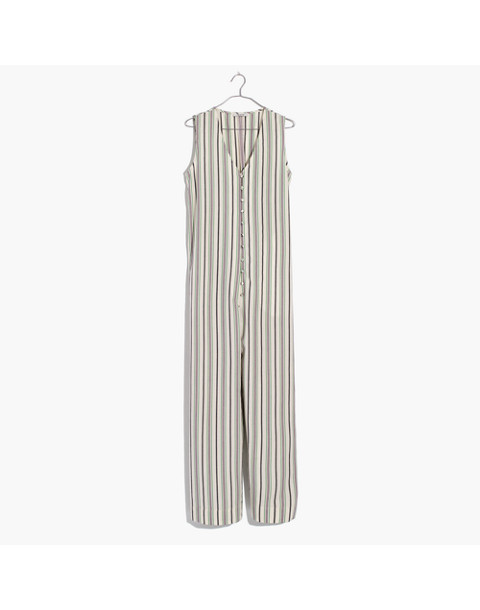 Striped Button-Down Jumpsuit in cloud lining image 4