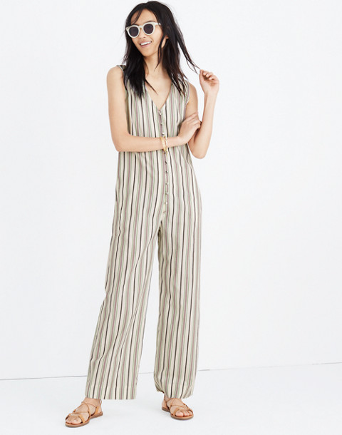 Striped Button-Down Jumpsuit in cloud lining image 1