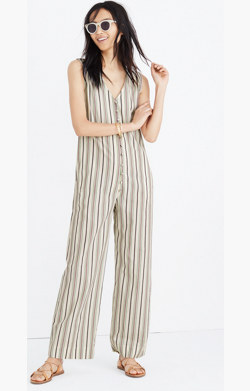Striped Button-Down Jumpsuit